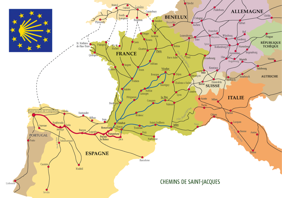 Camino Routes across Europe